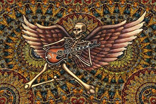 Tapestry, Flying Skeleton With Guitar by Dan Morris -