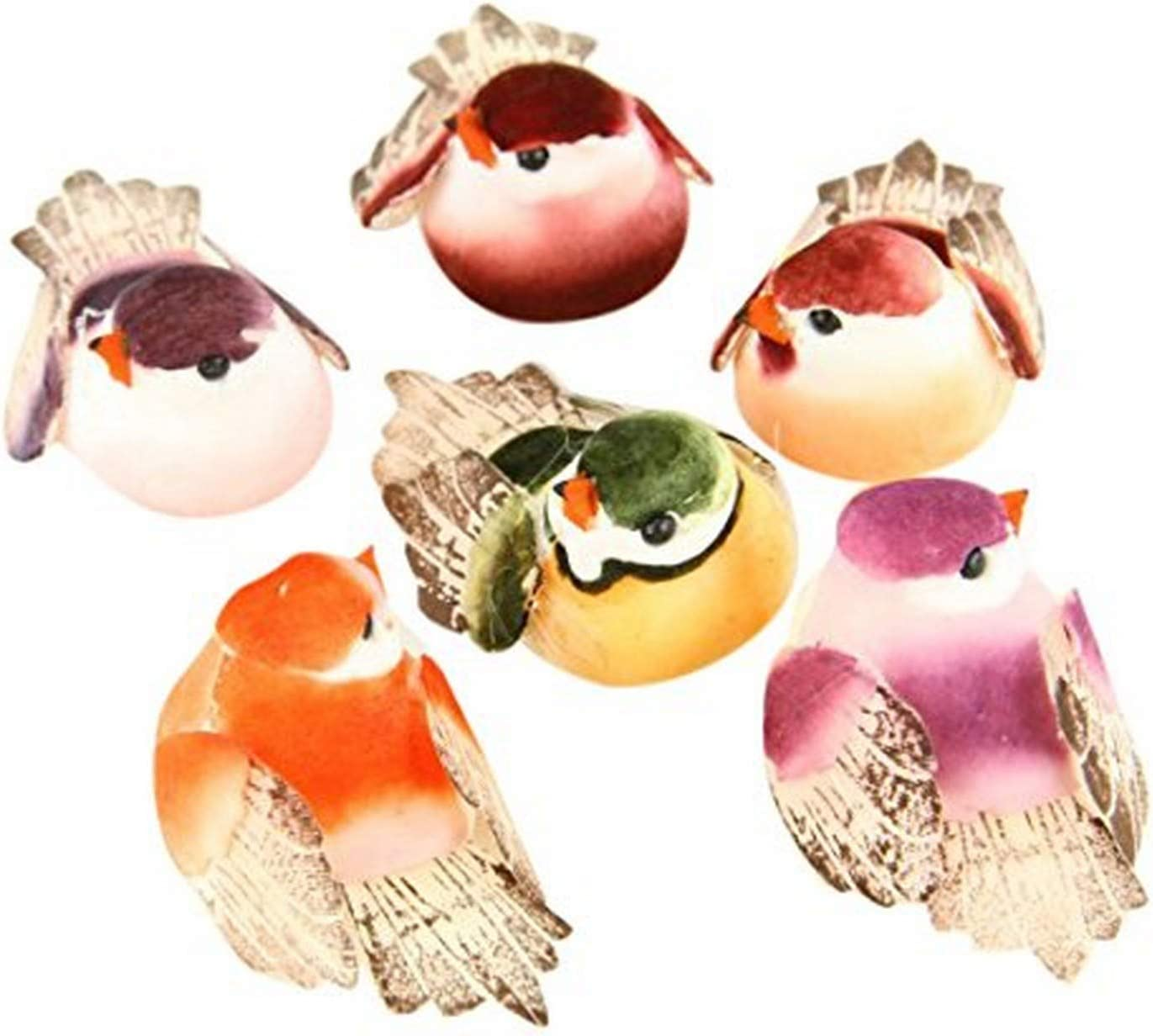 "Shinoda Design Center 0165500205 6 Piece Mushroom Bird Decor, 2"", Assorted"