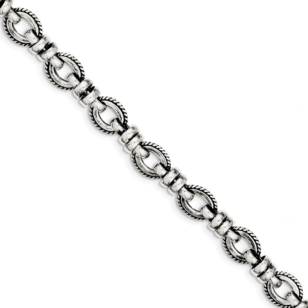 Solid 925 Sterling Silver Antiqued-Style Fancy Link Bracelet 7.5'' by Sonia Jewels