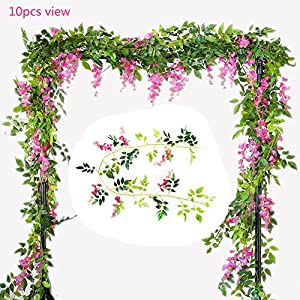 U-yaya Artificial Flowers 2Pcs Silk Wisteria Ivy Vine 6.6ft/pc Green Leaf Hanging Vine Garland for Wedding Party Home Garden Wall Decoration 31