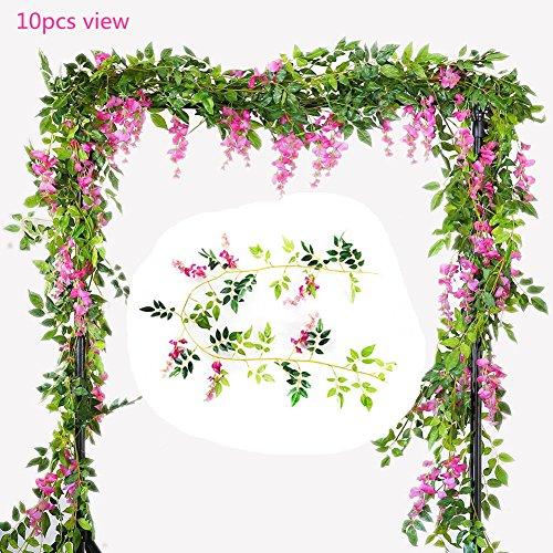 U-yaya Artificial Flowers 2Pcs Silk Wisteria Ivy Vine 6.6ft/pc Green Leaf Hanging Vine Garland for Wedding Party Home Garden Wall Decoration, Pink