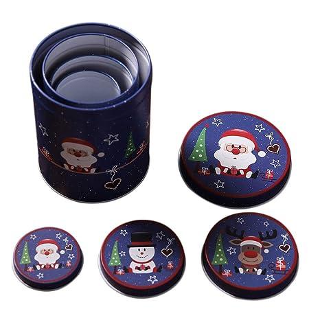Vkospy 4pcs / Set latas de Navidad de Metal de estaño vacía Regalo del Caramelo de Chocolate Caja de Almacenamiento de Navidad recipientes con Tapa de Tapas: Amazon.es: Hogar