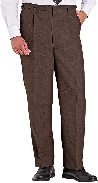 Mens High Waisted Wool Blend Trouser Pants Stretch Waistband