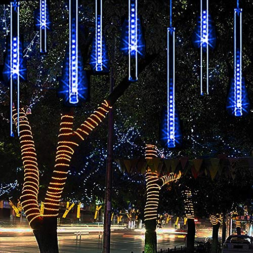 Alkbo Blue Color Meteor Shower Rain Lights Waterproof String for Wedding Party Christmas Xmas Decoration Tree Party Garden Xmas String Light Outdoor 10FT 8 Tube (Christmas Cascading Tree)