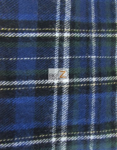 Apparel Flannel - Tartan Plaid Uniform Apparel Flannel Fabric - White/Navy - Sold by The Yard Checkered #28