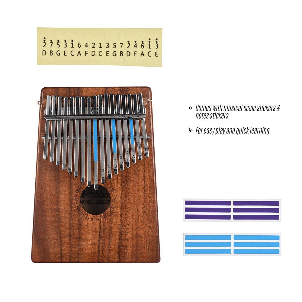 ammoon Kalimba Mbira Sanza 10 Tasti Thumb Piano Koa Hawaiano Legno Massello con Borsa di Trasporto Libro di Musica Martello Sintonizzatore Regalo Musicale