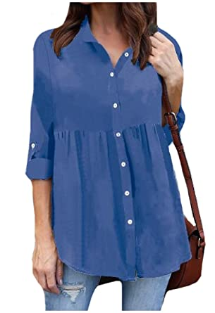 1fe803db LoveSky Women's Chiffon Casual Button Down Oversize Ruffle Tunic Tops  Sapphire Blue XSmall