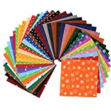 Life Glow DIY Polyester Patterned Felt Fabric Squares Sheets Assorted Colors 6x6 inch for Crafts, 1mm Thick 40Pcs
