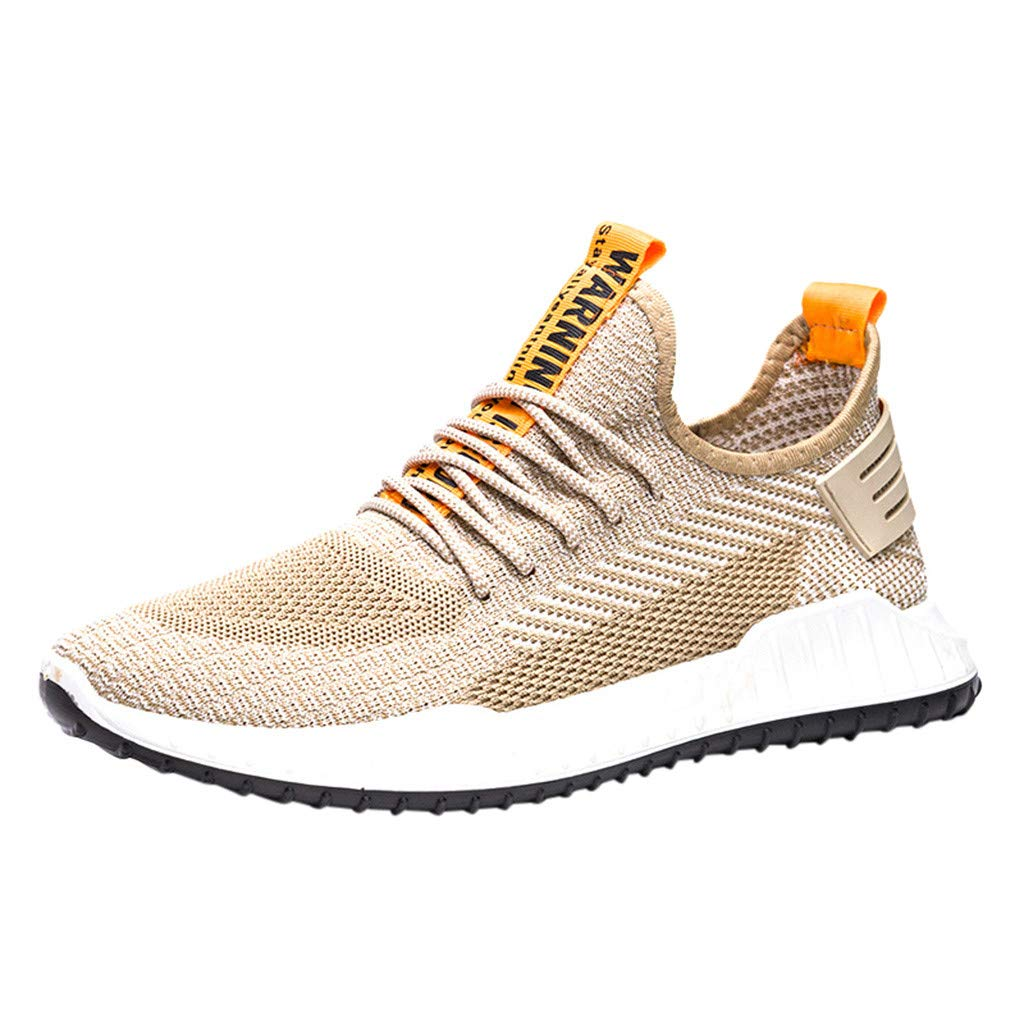 ✪COOLGIRLS✪~Shoes Men's Sneakers Mesh Ultra Lightweight Breathable Athletic Running Walking Gym Shoes Khaki by ✪COOLGIRLS✪~Shoes