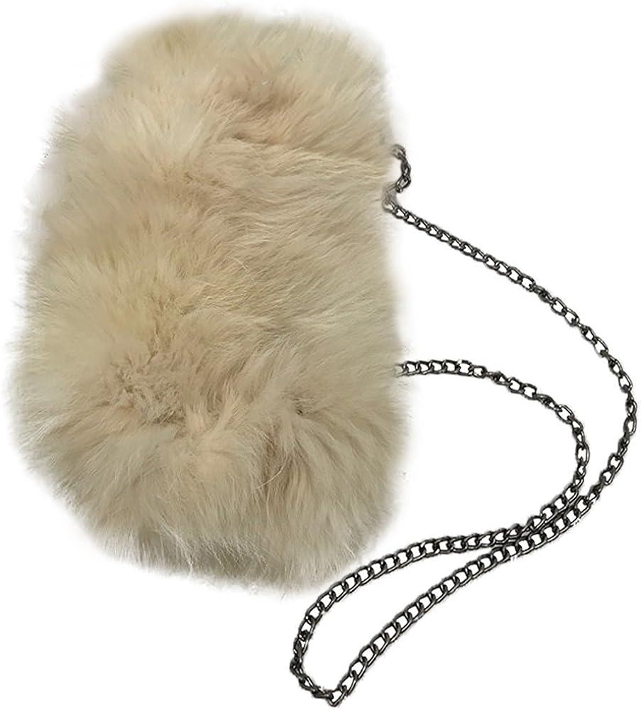 Flada Womens Faux Fluffy Feather Clutch Purse Bag Shoulder Bag Crossbody Handbag With Chain Strap