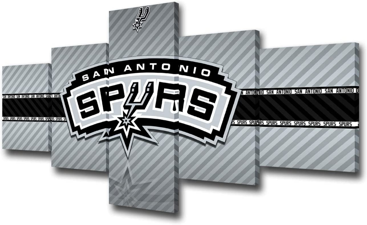 Native American Basketball Wall Decor San Antonio Spurs Logo Paintings NBA Wall Art 5 Piece Canvas Modern Artowrk Home Decor for Living Room Framed Gallery-wrapped Stretched Ready to Hang -50''Wx24''H