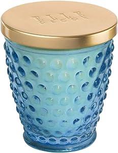Elle Decor Hobnail 8 Ounce Glass Jar Candle-Jasmin & Bamboo, Blue