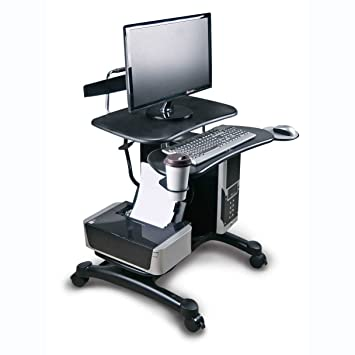 Aidata Ergonomic Sit Stand Mobile Computer Desk Work Station Cart With  Keyboard Tray, CPU