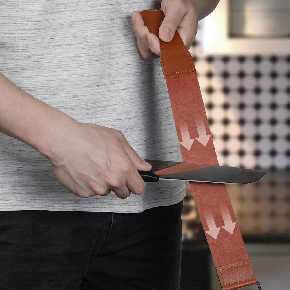 Angled Base Angle Guide Bamboo Base Razorri Sharpening Stone Set Leather Strips for Metal Blade Sharpening and Polishing Double-Sided 400//1000 and 3000//8000 Grit with Sharpening Stone