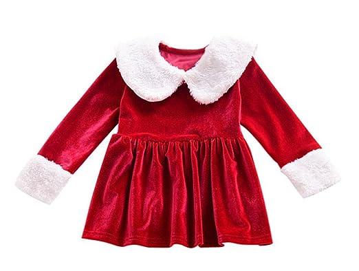 Girls Dresses Shobdw Kids Baby Christmas Long Sleeve Solid O Neck