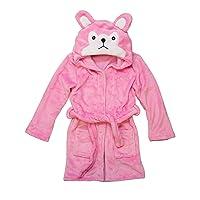 Hooded Fleece Toddler Robe (Pink Wolf)