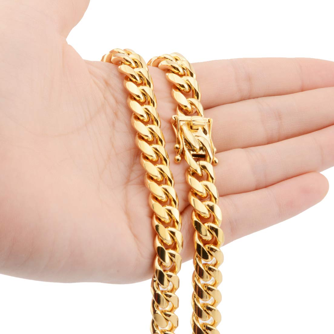 TIASRI Mens Yellow Gold Filled Stainless Steel Curb Cuban Link Miami Chain Strong Male Necklace