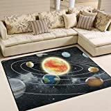 ALAZA Magic Solar System Space Sun Moon Earth Starry Night Area Rug Rugs for Living Room Bedroom 7' x 5'
