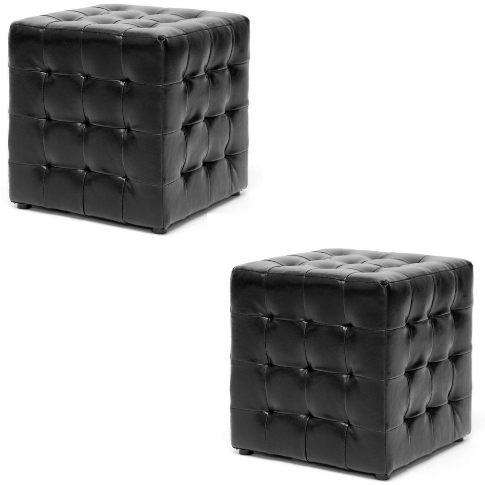 Tufted ottoman set of 2 low seating ottoman space saver sqaure contemporary cube stool seat faux leather lightweight sturdy small pillow top living room