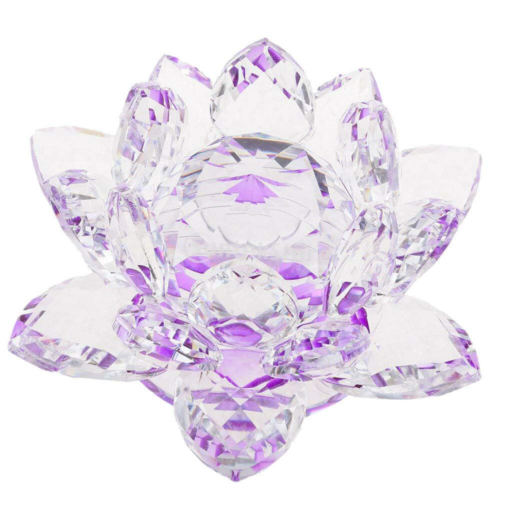 Feng Shui Decor Figurine Large Crystal Lotus Flower Ornament with Gift Box