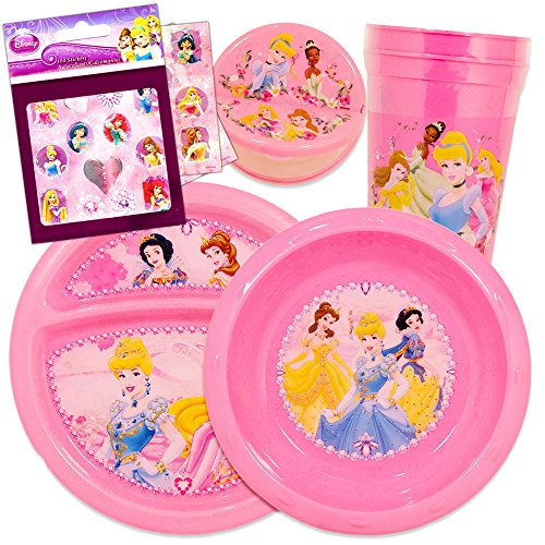 Disney Princess Toddler Dinnerware Set - Plate, Bowl, Cup, Snack Container, Stickers (Disney (Disney Dishes Sets)