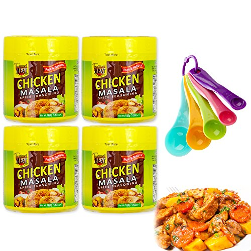 Chicken Masala Gourmet Collection Seasoning Spices Gift Set | All Pure & Natural Cooking Flavor. No MSG Added | 4 Bottles & Free Measuring Spoons Set | Tropical Heat (Chicken)