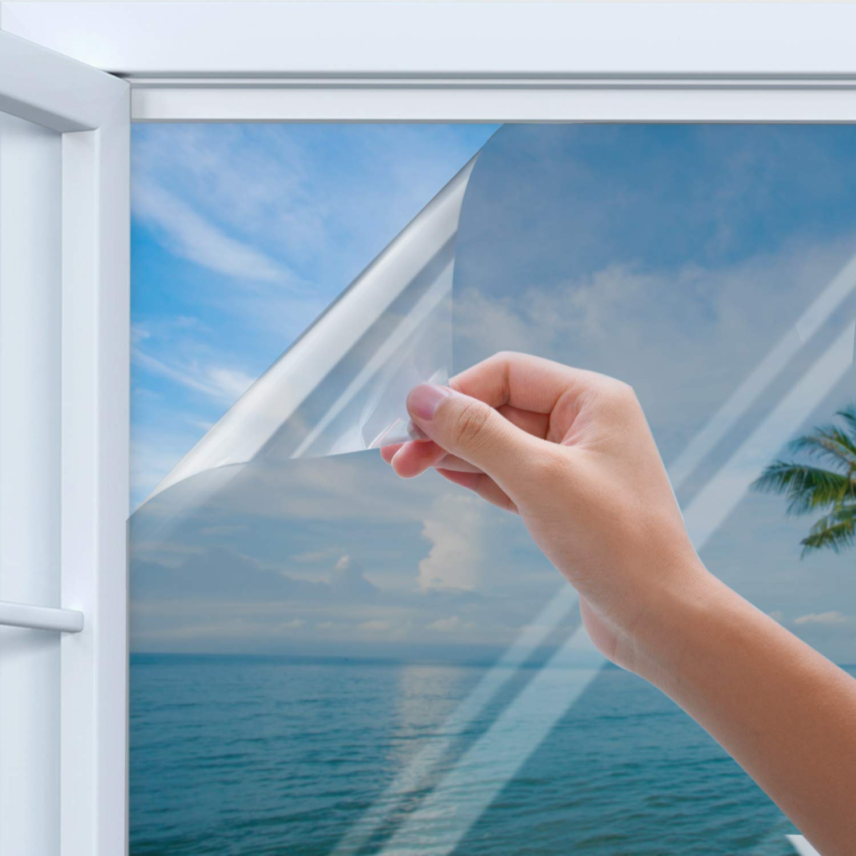 Privacy Window Film, Homegoo One Way Silver Reflective Adhesive Window Film, Anti UV Heat Control Sun Blocker, Privacy Protection Glass Tint Sticker, 90 x 200 cm(35.4 x78.7 inch)