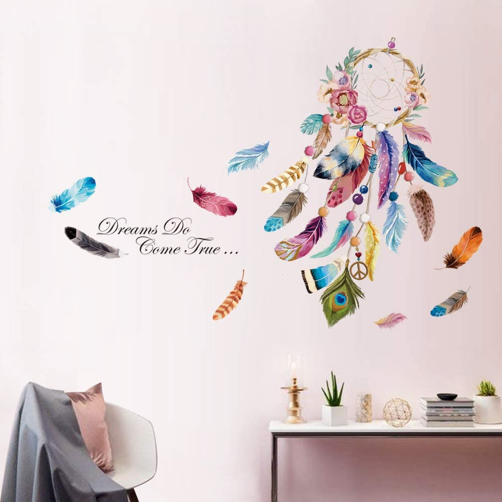 "decalmile Dream Catcher Feathers Wall Decals Quotes Dreams Come True Wall Stickers Bedroom Living Room Wall Decor (Finished Size: 54"" W x 38"" H)"