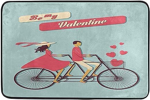 Annays Área Alfombra Be My Valentine s Día Bicicleta Amor Corazón ...
