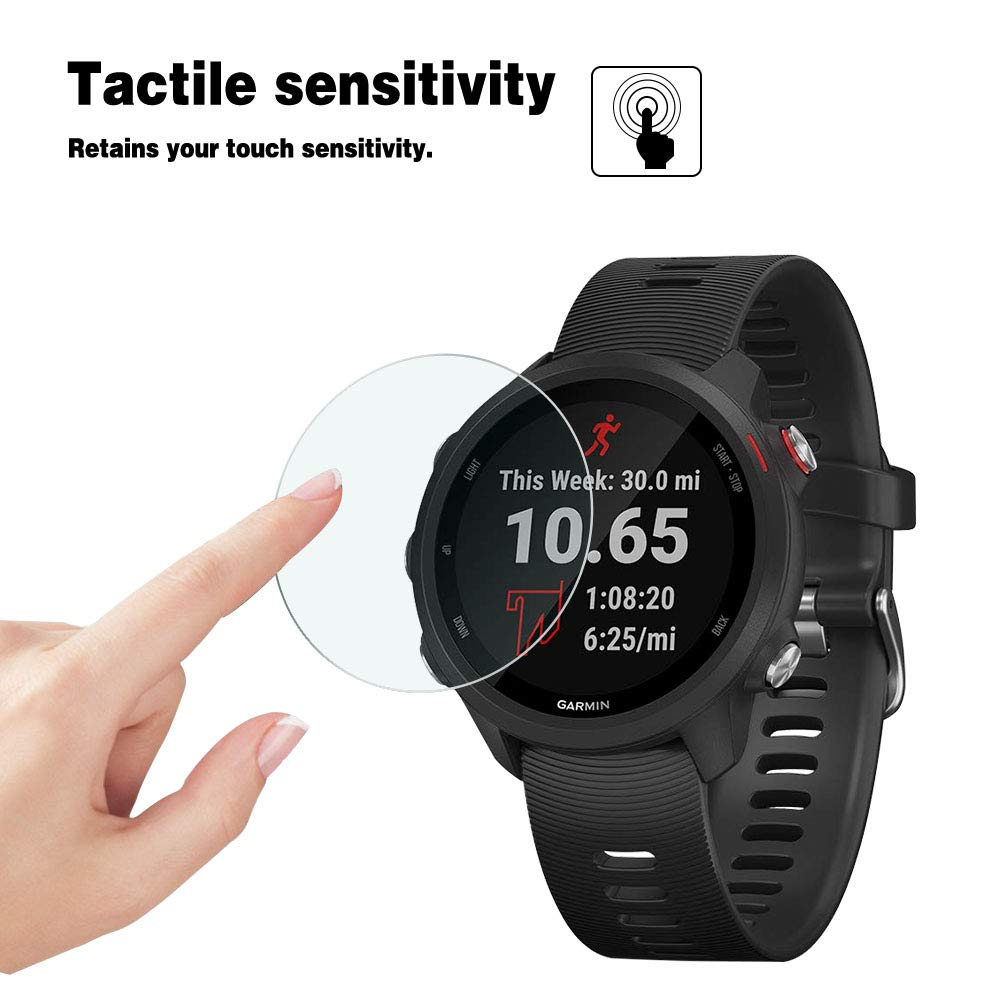 Easy Installation HD Premium Tempered Glass Film with 9H Hardness 0.3mm, 2.5D Case Friendly 【4 PACK】 Bubble-Free AOLANDER Screen Protector for Garmin Forerunner 245//Garmin Forerunner 245 Music