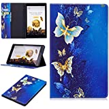 """TiKeDa Case for All-New Amazon Fire HD 10 Tablet (7th/5th Generation,2017/2015 Release) - Premium PU Leather Slim Fit Smart Stand Cover with Auto Wake/Sleep for Fire HD 10.1"""" Tablet (Butterfly)"""