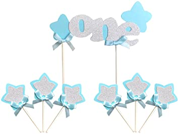 Kapok Life Blue And Silver 1st First Boy Birthday Cake Topper Decorations Set One With
