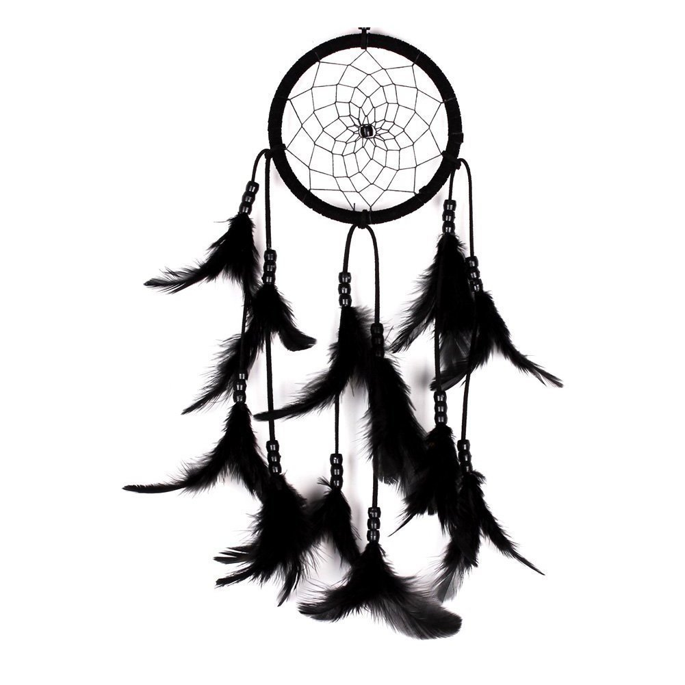dream catcher - SODIAL(R) Handmade Dream Catcher Net With feathers Hanging Decoration Decor Craft Gift (Black) AEQW-WER-AW136812