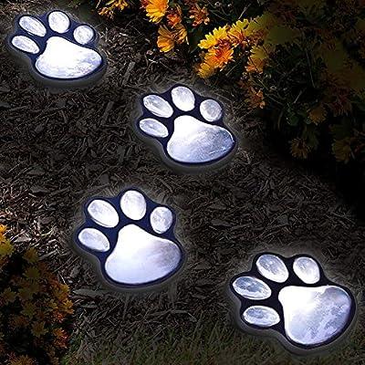 Set of 4 LED Solar Pet Paws Animal Prints Outdoor Lamp Lantern Path Landscape Garden Lights - Decorative