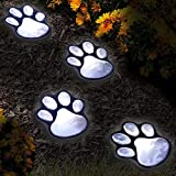 Set of 4 LED Solar Pet Paws Animal Prints Outdoor Lamp Lantern Path Landscape Garden Lights – Decorative For Sale