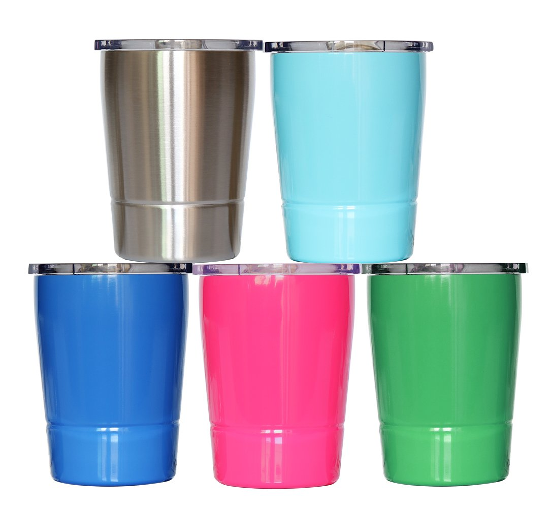 Colorful PoPo Kids Stainless Steel Cup Lovely Small Rambler Tumbler Sippy Cup with Lid and Silicone Straw, 8.5 OZ (1, Natural Color) by Colorful PoPo