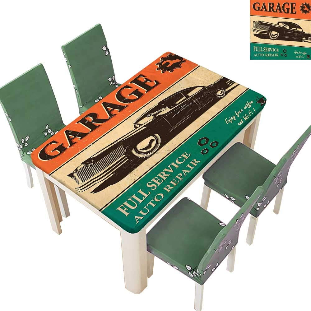 Printsonne Indoor/Outdoor Retro Poster with Classic Car Automobile Mechanic Nostalgic 50s Orange Beige Jade Green Kitchen Tablecloth Picnic Cloth 54 x 120 Inch (Elastic Edge)