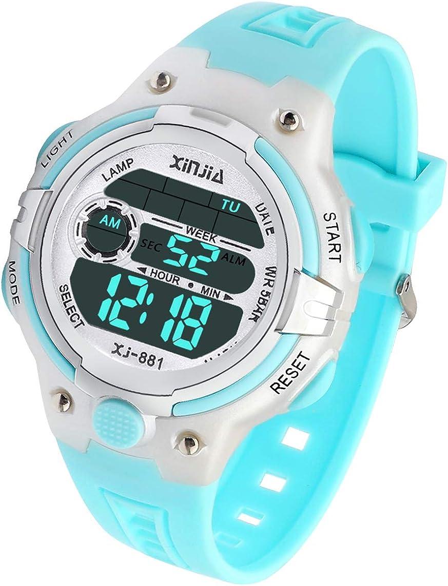 Reloj Digital para Niña Niño,Chicos Chicas Impermeable Deportes al Aire Libre LED Multifuncionales Relojes de Pulsera con Alarma