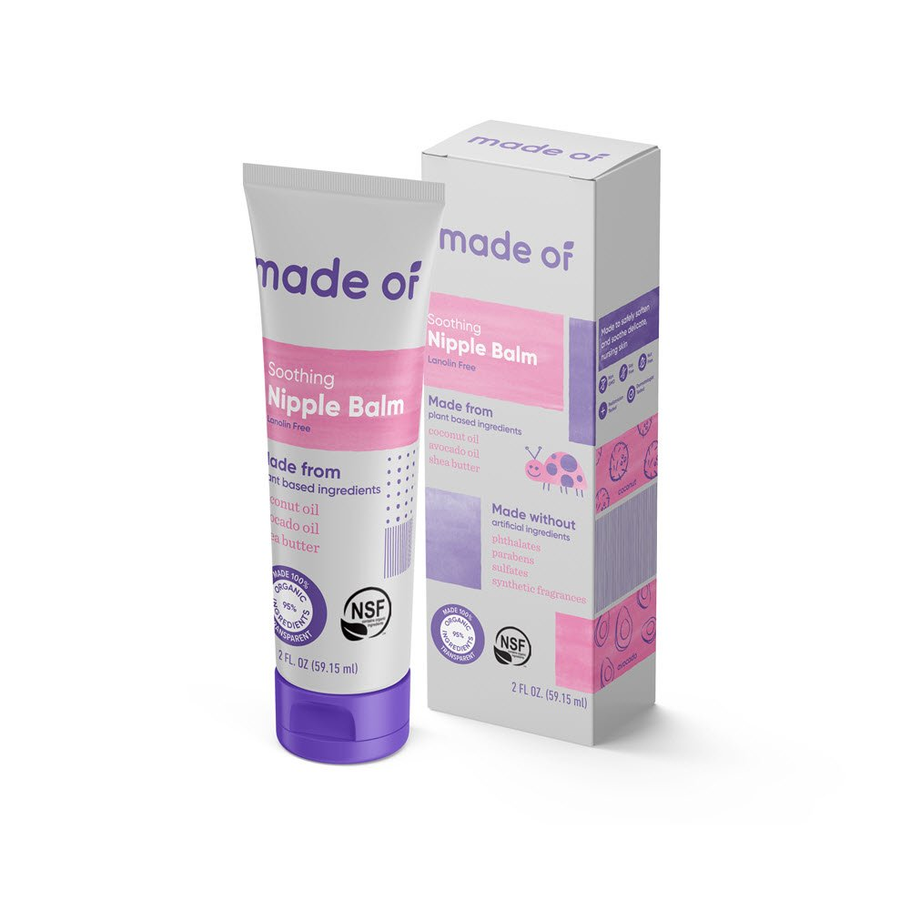 MADE OF Organic Nipple Balm - NSF Organic Nipple Cream - No Lanolin - for Sensitive Skin during Breastfeeding - 95% Organic and 5% Natural Ingredients - Made in USA - 2oz (Fragrance Free, 1-Pack)