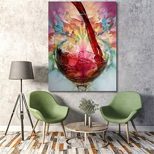 OKSLO Unframed/Framed Abstract Giclee Red Wine Glass Oil Painting Canvas Wall Art Pr