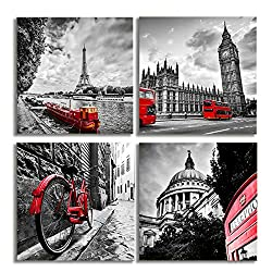 KALAWA 4pcs Black White Cityscape Canvas Print Wall Art - Paris Eiffel Tower - London Double Decker Buss Classic Red Car and Telephone City Wall Art for Home Office Decor(20x20inchx4pcs)