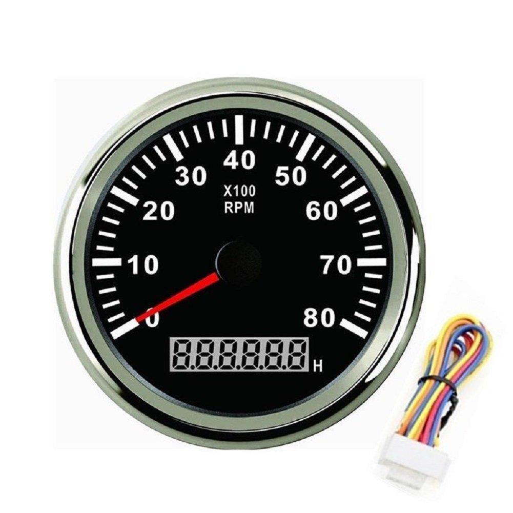 autool 85 mm Edelstahl 8000 U/min-Tachos tachometern Revolution meters12 V/24 V schwarz