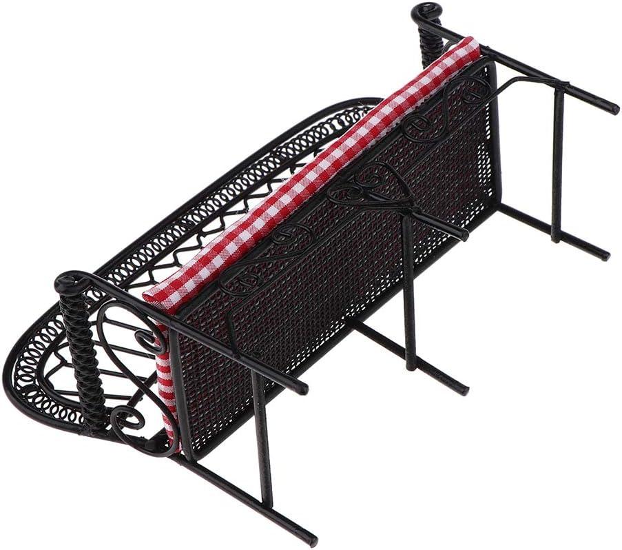 1:12 Miniature Iron Park Bench Chair Outdoor Garden Furniture Dollhouse Red Black