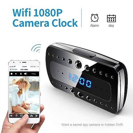 FREDI 1080P WIFI telecamera Spia Orologio-sveglia HD videocamera ...