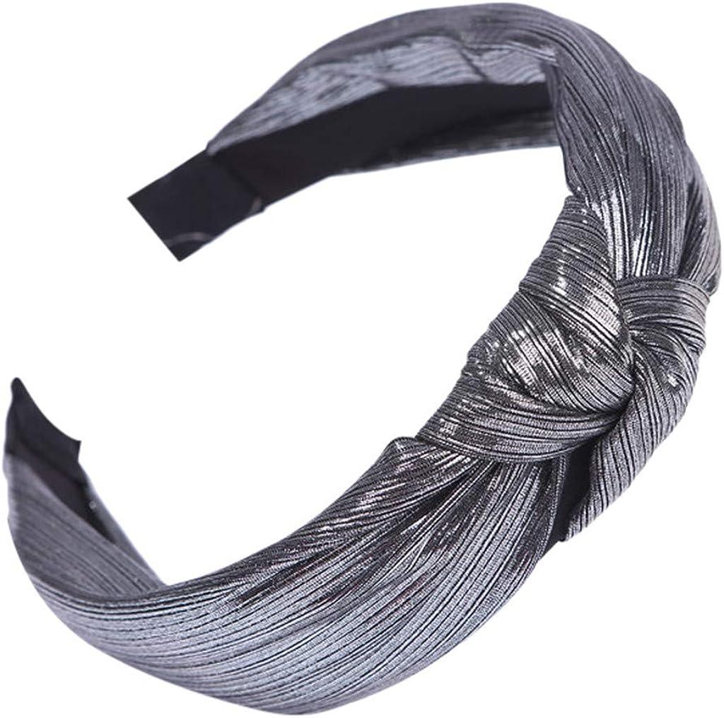 RTYou Wide Headbands Knot Turban Headband Hair Band Elastic Plain Sequin Fashion Hair Accessories for Women and Girls