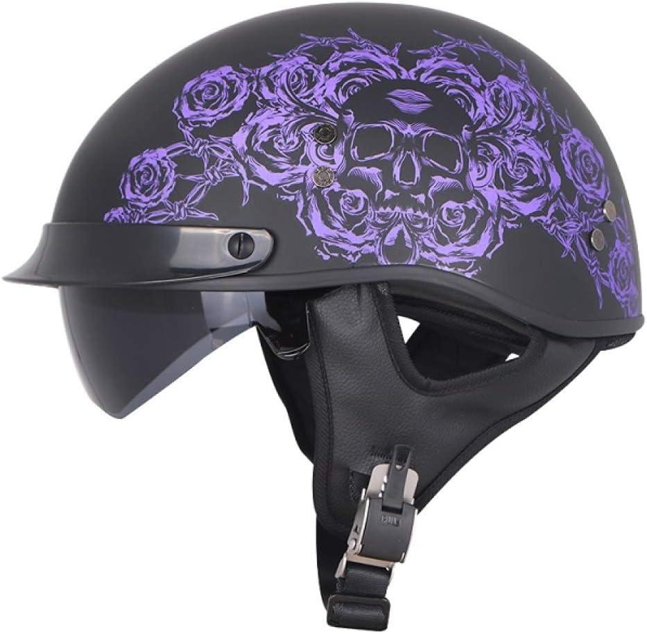 Berrd Medio Casco Retro de Fibra de Vidrio para Motocicleta con sombreado Interior Verano e Invierno con Bufanda Casco Violeta Rosa XXL