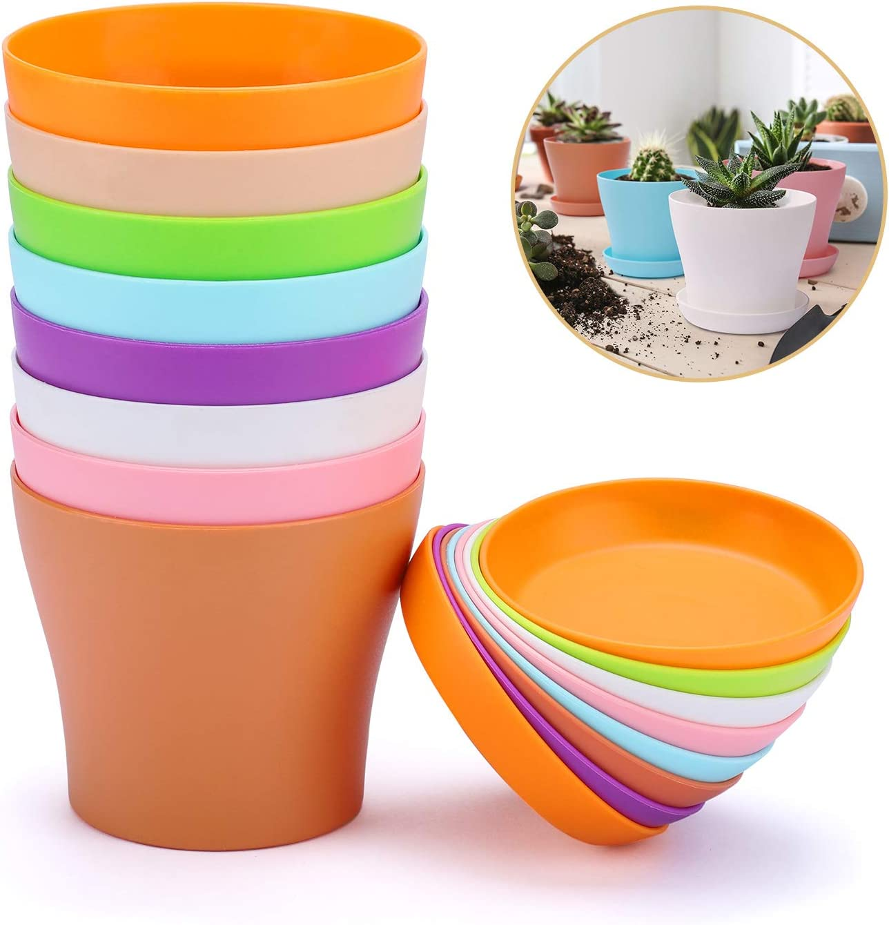 "Delxo 8 Pcs 4"" Plastic Plants Nursery Pots Reusable Plant Seeding Nursery Pot ,Colorful Flower Plant Container Seed Starting Pots with Pallet,8 Colors"