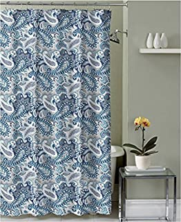 Marine Blue Taupe Beige White Decorative Fabric Shower Curtain Paisley Design
