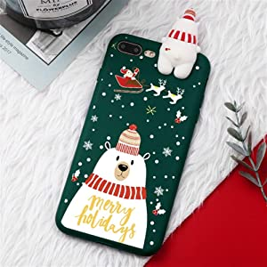 XINHUANG Christmas Cartoon Deer Case for iPhone XR 11 Pro XS Max X 5 5S Silicone Matte Cover for iPhone 7 8 6 S 6S Plus 7Plus Case Bear (Color : B, Size : for iPhone X and XS)