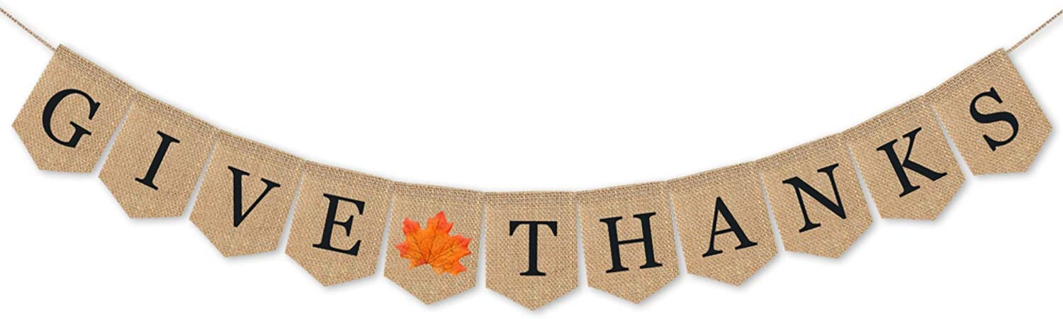 Give Thanks Banner, Thanksgiving Decorations Burlap Banner Thanksgiving Decor Friendsgiving Party Home Decoration